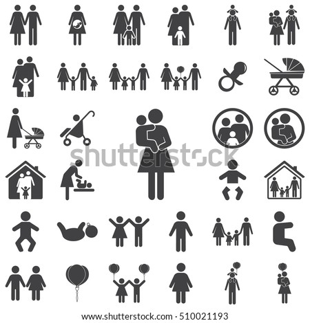 Mother and child vector symbol icon on the white background. Family set of icons
