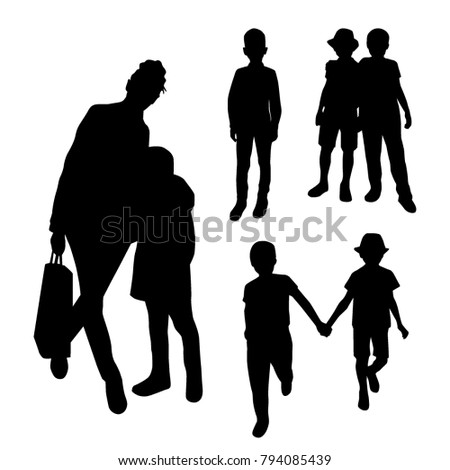 Mother and Children Black Silhouettes Set