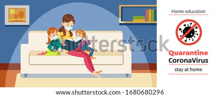 Mother and children home reading during Coronavirus or Covid-19 quarantine. Stay at home, Home education concept. Cartoon vector illustration