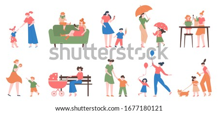 Mother and children. Young happy mom and kids, daughter and son, playing, reading and cooking together, motherhood love vector illustration set. Motherhood daughter, woman child happiness together