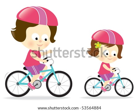 Mother and daughter biking
