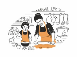 Mother and daughter cooking - modern vector illustration in line design style with color accents. Young parent with a rolling pin, making dough, a girl with a whisk, preparing a cake in the kitchen