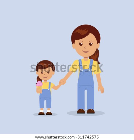 mother and daughter hold hands