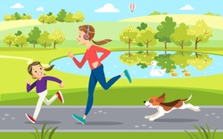 Mother and daughter Jogging with cute dog in the Park, along the lake. Concept motherhood child-rearing. Vector illustration