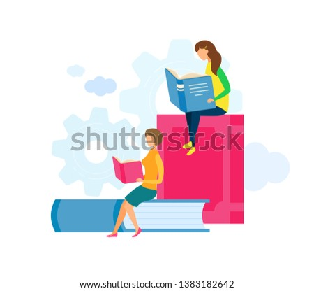 Mother and Daughter Reading Vector Characters. Students at University Lecture, Lesson Flat Illustration. Librarian Sitting on Huge Book. Sisters, Siblings Choosing Textbooks in Bookstore