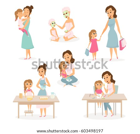 Mother And Daughter Shopping Huging Cooking On Kitchen Drawing Mom Child