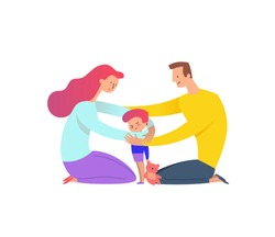 Mother and father cuddling with their son. Parents hugging their kid boy holding teddy bear. Concept of family love and support. Cartoon characters isolated on white background. Vector illustration.