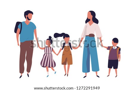 Mother and father leading their children to school. Portrait of modern family walking together. Parents and kids holding hands isolated on white background. Colorful vector illustration in flat style.