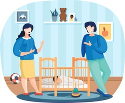 Mother and father watching at sleeping baby. Parents communicate and spend time together at home. Cute little child sleep in crib. Business people relaxing in apartment. Characters talk about work