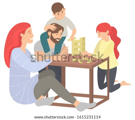 Mother and father with kids at home vector, isolated family playing board game. Fun time of parents and children, parenting and childhood people. Spending time with family and game together
