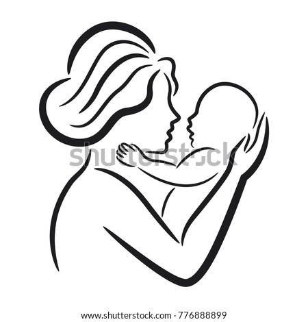 mother and her baby symbol 776888899