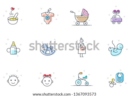 mother and infant flat line icon set with color