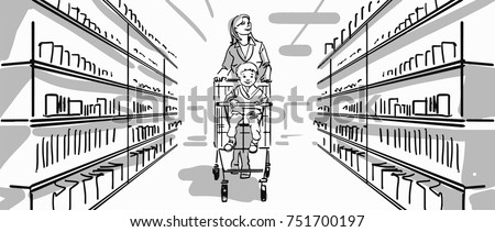 Mother and kid in the supermarket. Kid sitting in the supermarket trolley. Family shopping. Black and white vector sketch. Simple drawing.