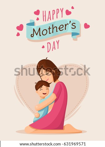 Mother and son. Mother's day card, background