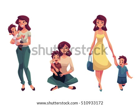 mother and son  set of cartoon