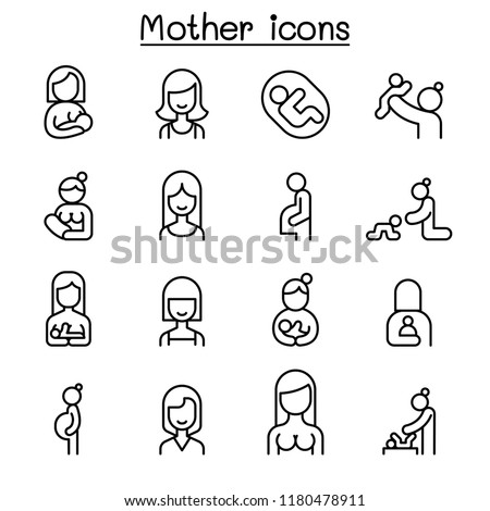 Mother and Woman icon set in thin line style
