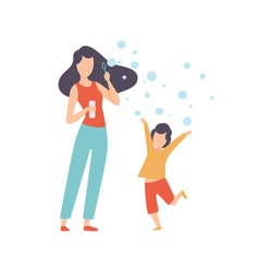 Mother Blowing Bubbles with Her Little Son, Happy Family Outdoor Activities Vector Illustration