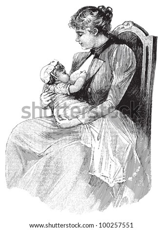 Mother breast feeding her baby / vintage illustration from Die Frau als hausarztin 1911