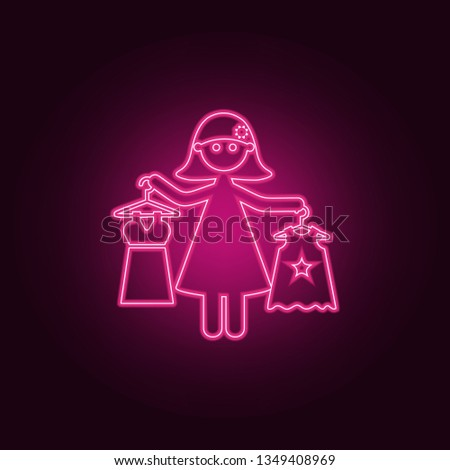 mother buys daughter's clothes icon. Elements of Family in neon style icons. Simple icon for websites, web design, mobile app, info graphics