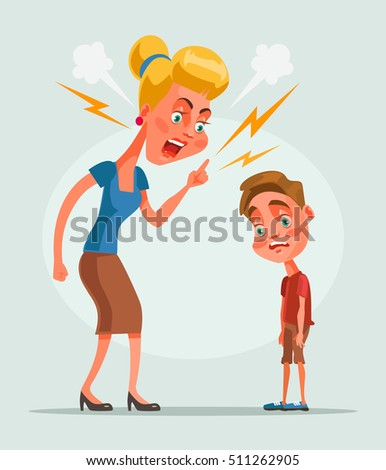 mother character scolds son
