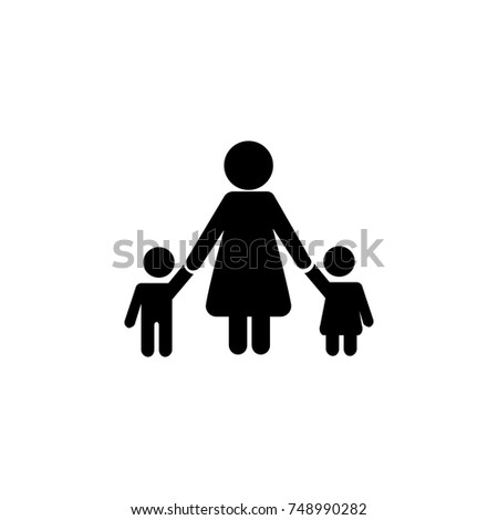 Mother Children pictograph with bonus love graphic icon. Simple black family icon. Can be used as web element, family design icon on white background