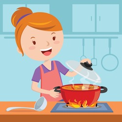 Mother cooking. Vector illustration of a woman cooking in the kitchen.