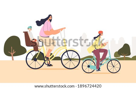 mother cycling together with