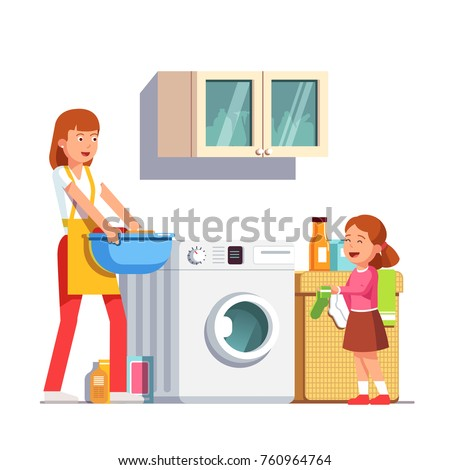 Mother & daughter doing housework chores together at home laundry room with washing machine. Kid helping laundry giving sock. Housewife woman carrying clean clothes basin. Flat vector illustration.
