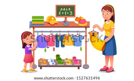 Mother & daughter kid choosing clothes on shop hanger rack at sale. Family shopping in clothing store. Mom & child girl cartoon characters buying clothes with discount. Flat vector illustration