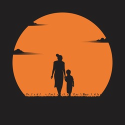 Mother day concept. mother walked in hand with her son in the sunset. holiday, silhouette, vector illustration flat design