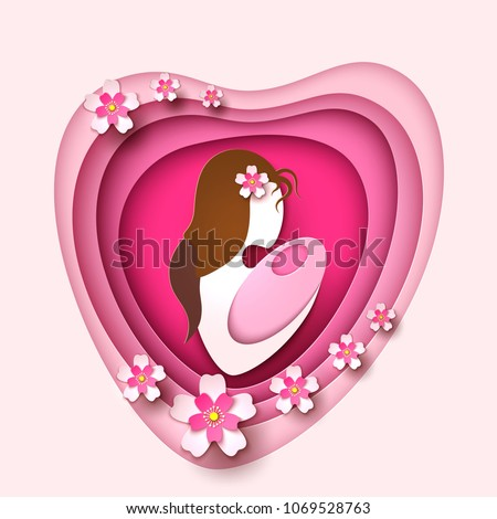 Mother day holiday celebration, greeting invitation card design with mom holding newborn baby in paper cut origami style in pink heart shape with flower blossoms. Vector illustration