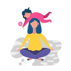 Mother doing yoga and meditating visiting in a lotus pose with a cute naughty daughter on her head. Illustration in vector
