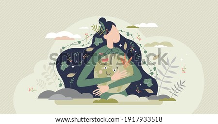 Mother earth as environmental ecological and green planet tiny person concept. Nature biodiversity conservation as care with protection or preservation vector illustration. Ecosystem climate awareness