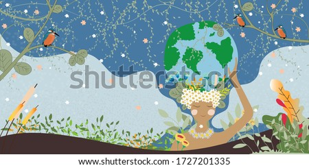 Mother earth day poster with hand holding planet,Nature fo woman. Cute cartoon Vector Girl with wild natural forest and globe,World environment background,Save the earth or Earth day,Green day concept