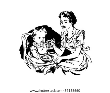 mother feeding baby   retro...