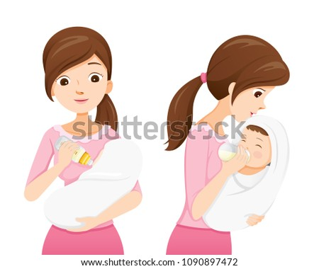 Mother Feeding Baby With Milk In Baby Bottle, Front And Side View, Mother's day, Suckling, Infant, Motherhood, Innocence