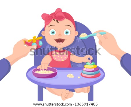Mother feeds the child. Feeding baby porridge sitting on a chair. Feeding a baby with a spoon distracting him with a toy. Mom feeds the little girl, distracting her with a toy. Vector illustration.
