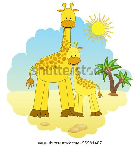 Mother-giraffe and baby-giraffe. Vector illustration.
