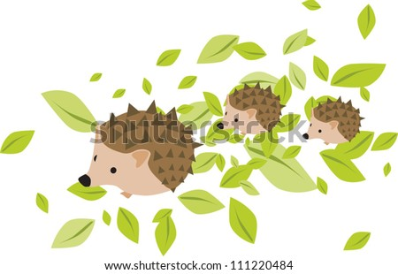 Mother hedgehog with two hedgehog babies on the leaves
