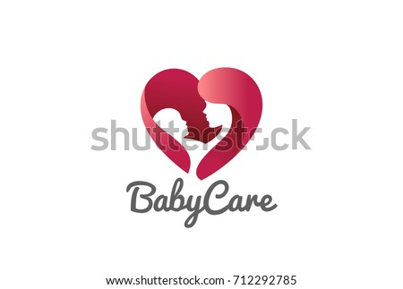 Mother holding Child baby Heart shape Logo design vector template. Medicine Clinic Care Charity Fund Logotype concept icon.