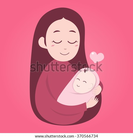 mother holding cute baby happy