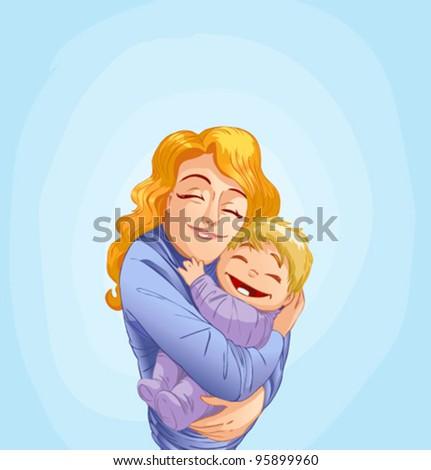 mother hugging her baby - stock vector