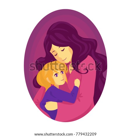 mother hugs a child the child