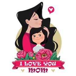 Mother hugs daughter.  Brunette. Cartoon style, flat vector illustration.