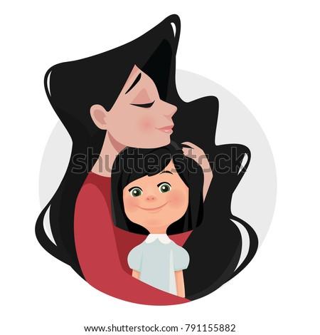 mother hugs daughter  brunette