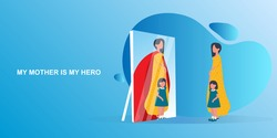 Mother Is My Hero. Daughter Seeing Mom's Reflection As Superhero In Mirror Standing With Her On Blue Background. Panorama. Vector