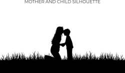 Mother kiss the forehead of the child silhouette. Love symbol of family on black color. Eps 10. Holiday background element.
