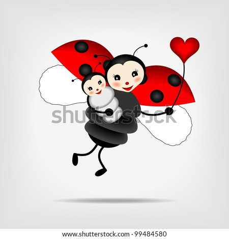 mother ladybug with her baby and red heart - vector illustration