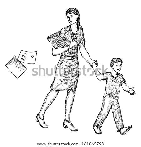 Mother leads her son to school