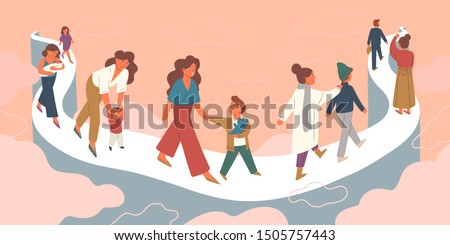 Mother letting go growing child vector illustration. Pregnant woman, mom with infant, toddler, walking with child, teenager. Old mother seeing off adult son. Family bond, eternal parents love concept.